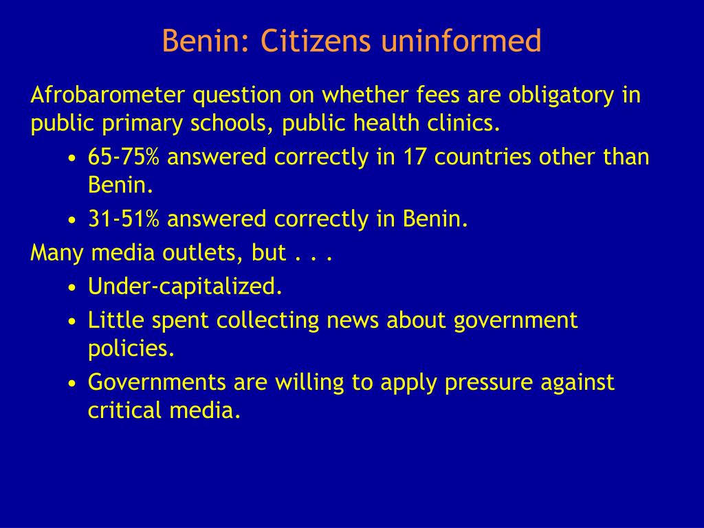 Benin: Citizens uninformed
