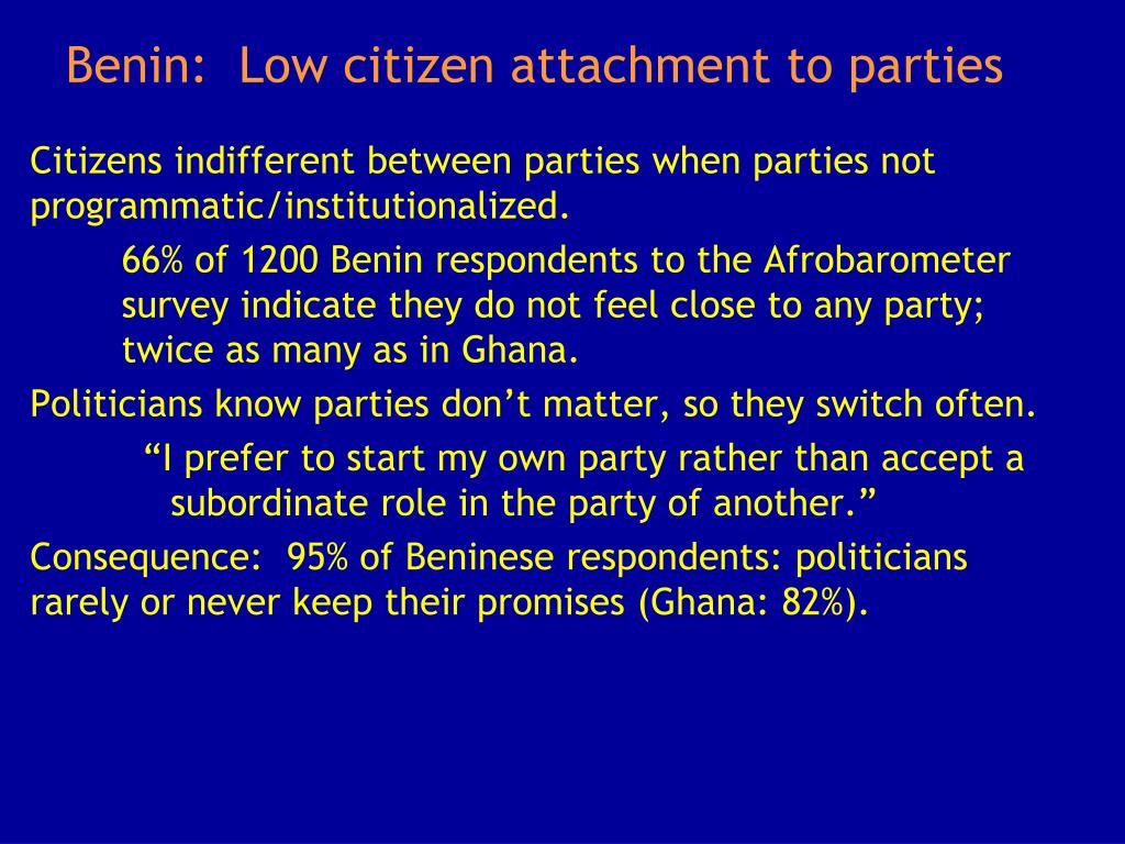 Benin:  Low citizen attachment to parties