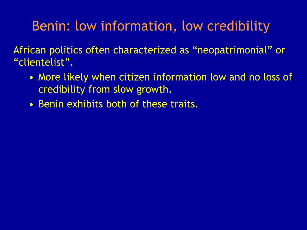Benin: low information, low credibility
