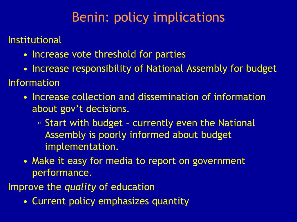Benin: policy implications