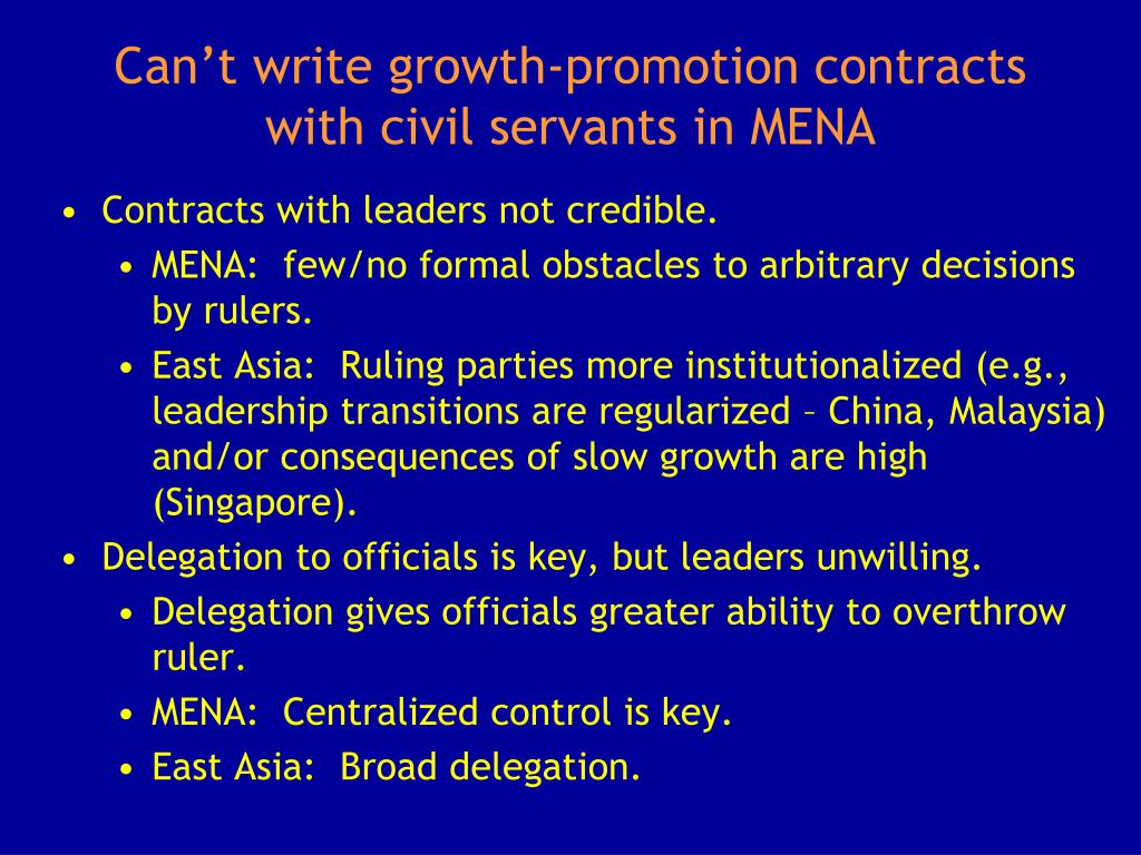 Can't write growth-promotion contracts with civil servants in MENA