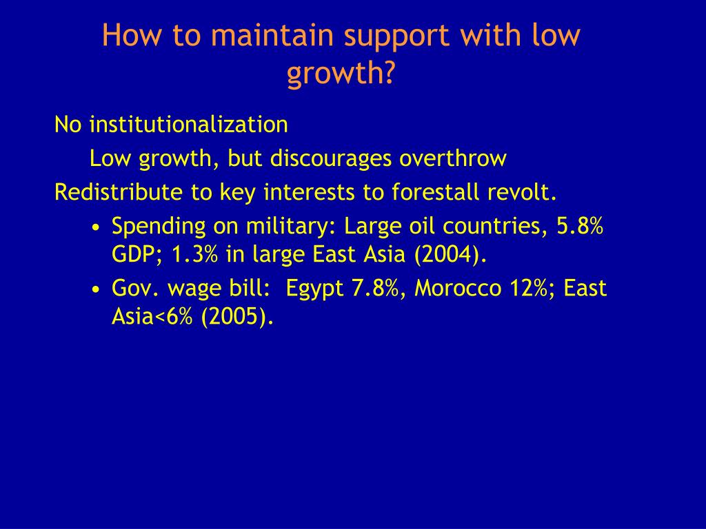 How to maintain support with low growth?