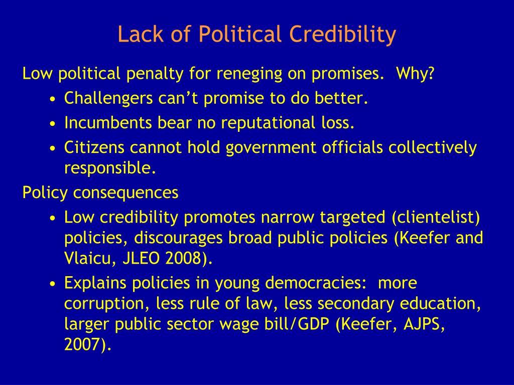 Lack of Political Credibility