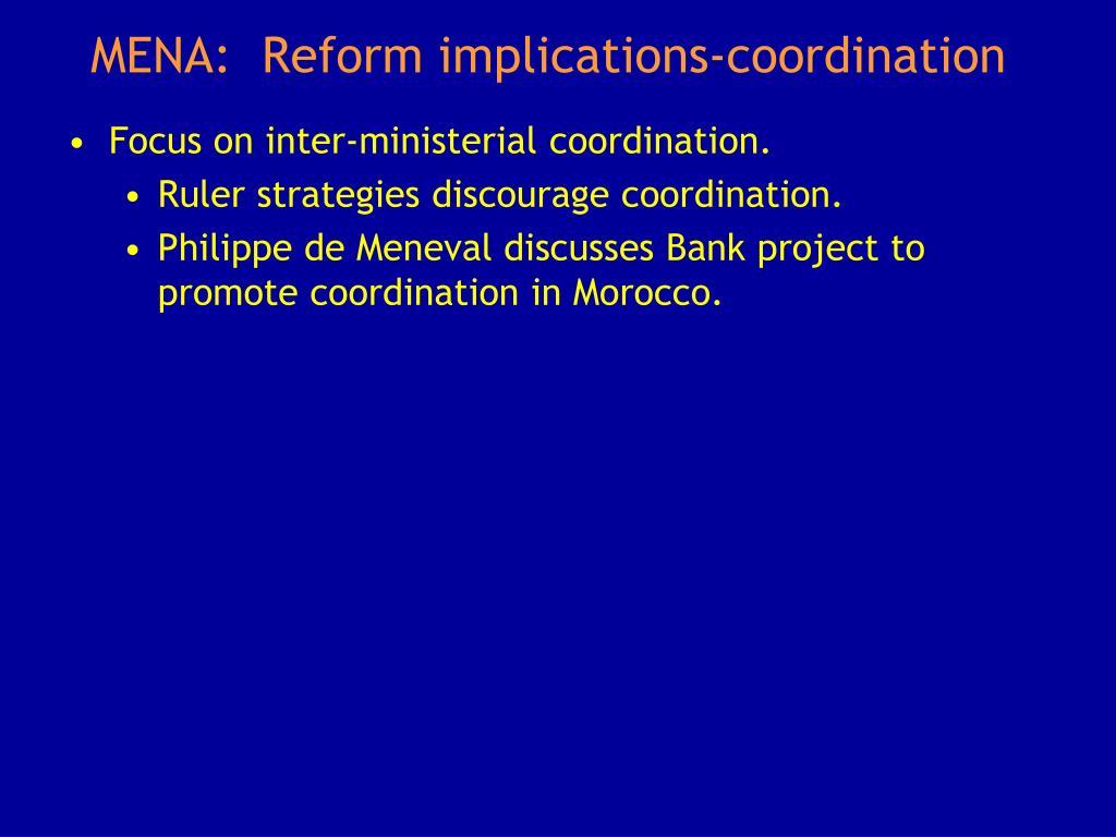 MENA:  Reform implications-coordination