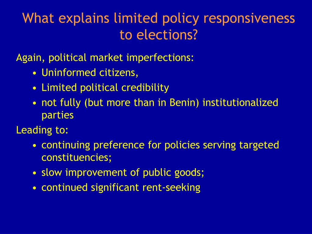 What explains limited policy responsiveness to elections?