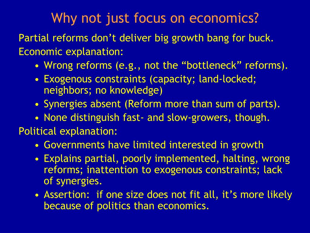 Why not just focus on economics?