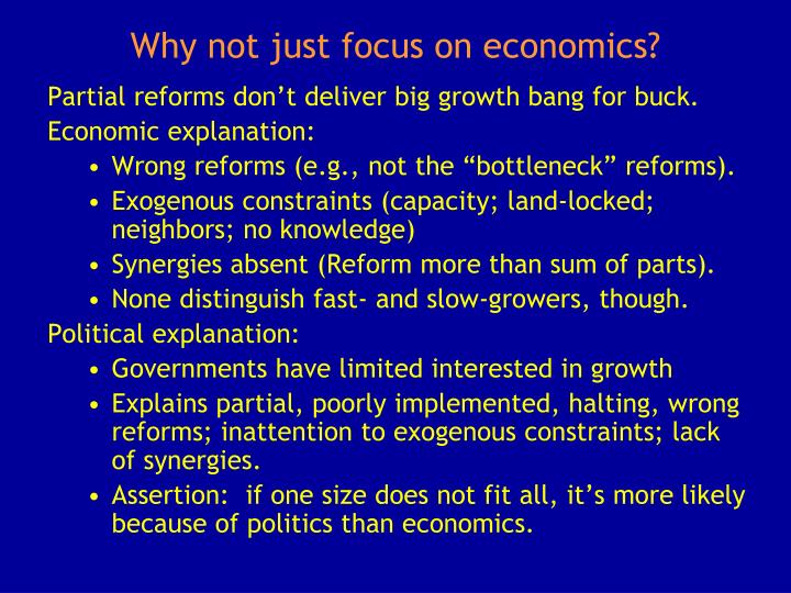 Why not just focus on economics