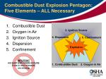 combustible dust explosion pentagon five elements all necessary