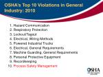 osha s top 10 violations in general industry 2010