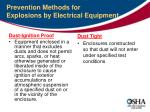 prevention methods for explosions by electrical equipment