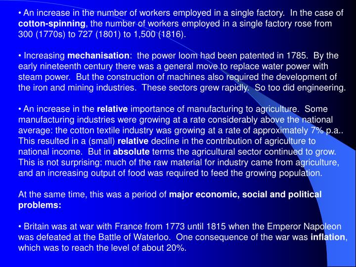 An increase in the number of workers employed in a single factory.  In the case of