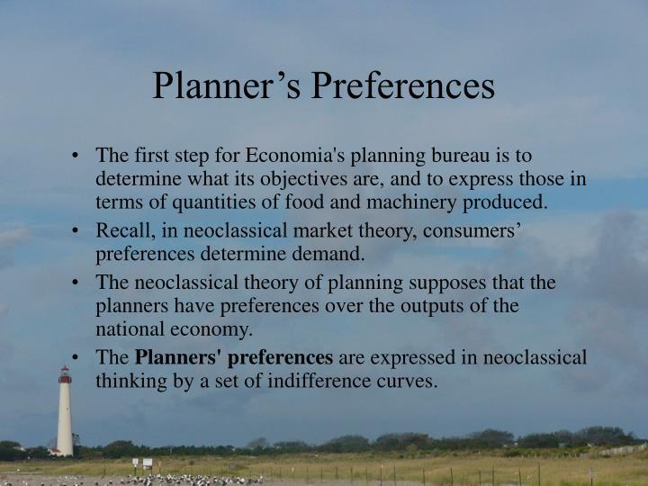 Planner's Preferences