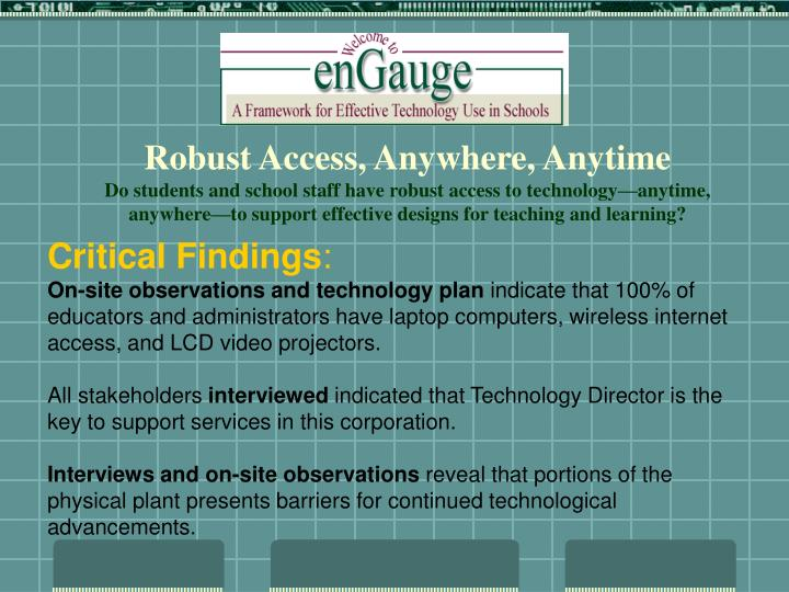 Robust Access, Anywhere, Anytime