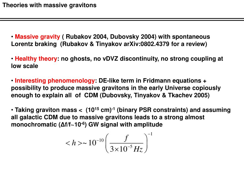Theories with massive gravitons