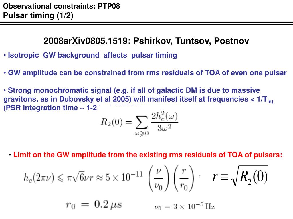 Observational constraints: PTP08
