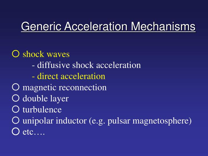 Generic acceleration mechanisms
