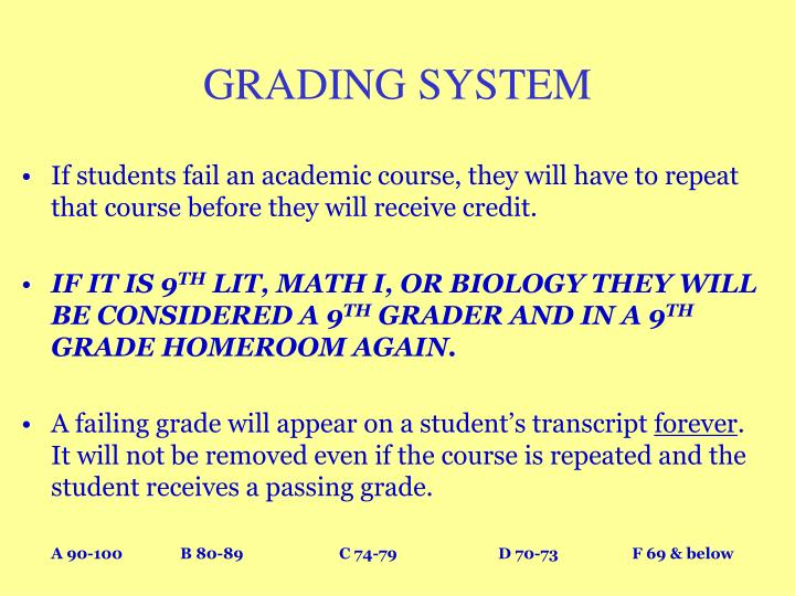 If students fail an academic course, they will have to repeat that course before they will receive credit.