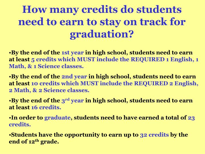 How many credits do students need to earn to stay on track for graduation?