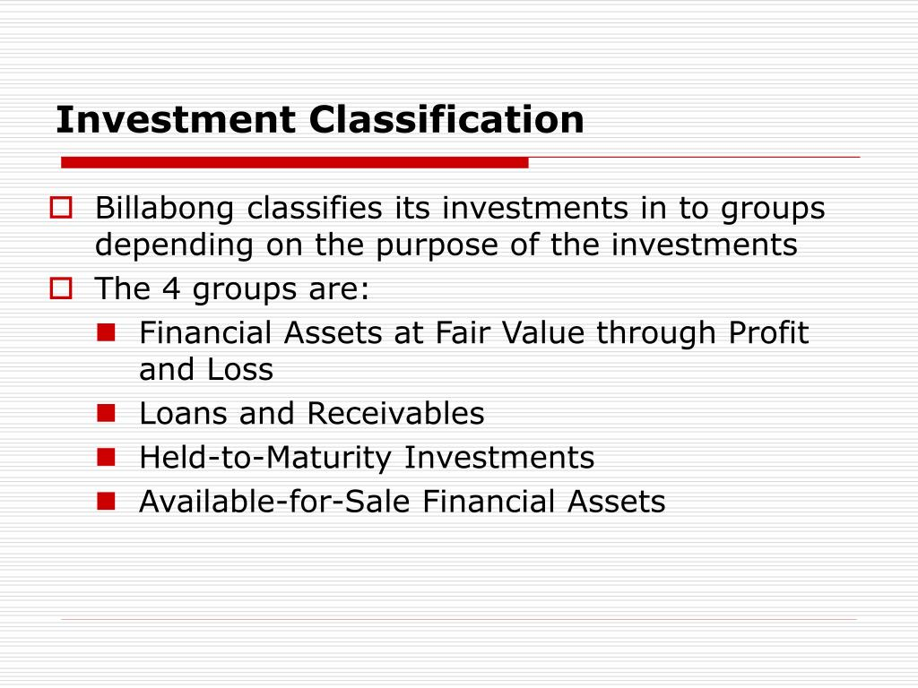 Investment Classification