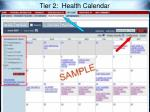 tier 2 health calendar