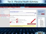tier 2 personal health summary