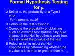 formal hypothesis testing for m28
