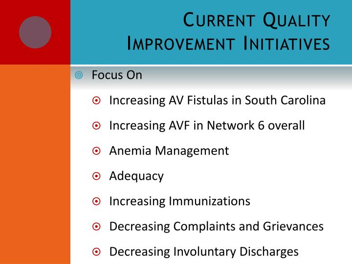 Current Quality Improvement Initiatives