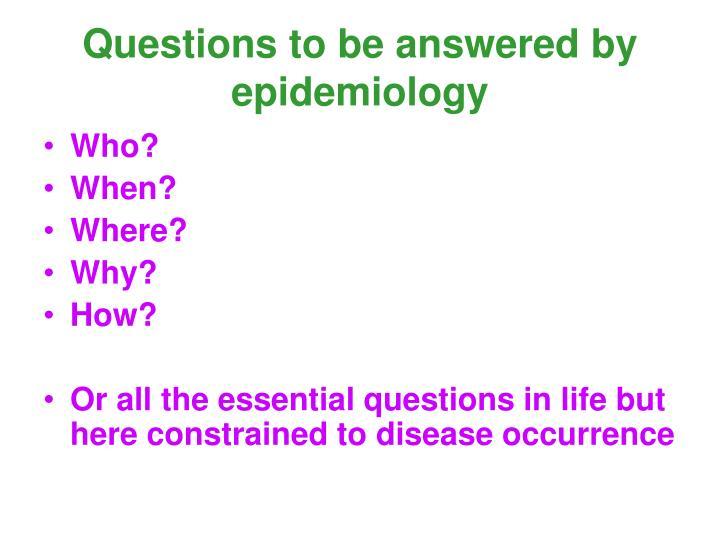epidemology paper Epidemiology paper many issues are at the forefront of public health, but prevention is still the topic most discussed by health professionals this will always be the way to break the cycle of diseases and many other health-related problems.