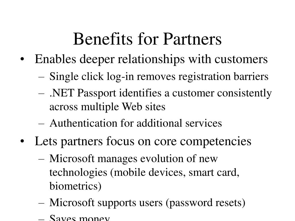 Benefits for Partners