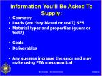 information you ll be asked to supply