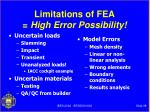 limitations of fea high error possibility