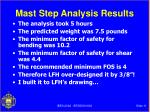 mast step analysis results