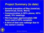 project summary to date