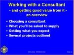 working with a consultant and getting good value from it an overview