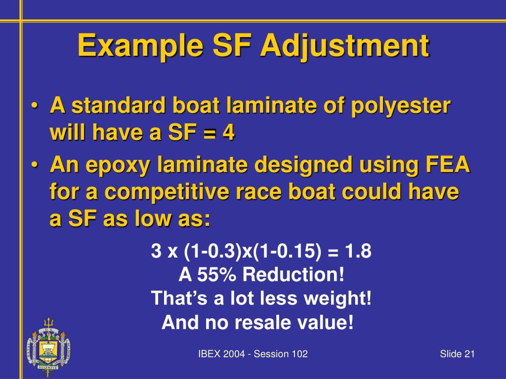 Example SF Adjustment