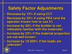 safety factor adjustments