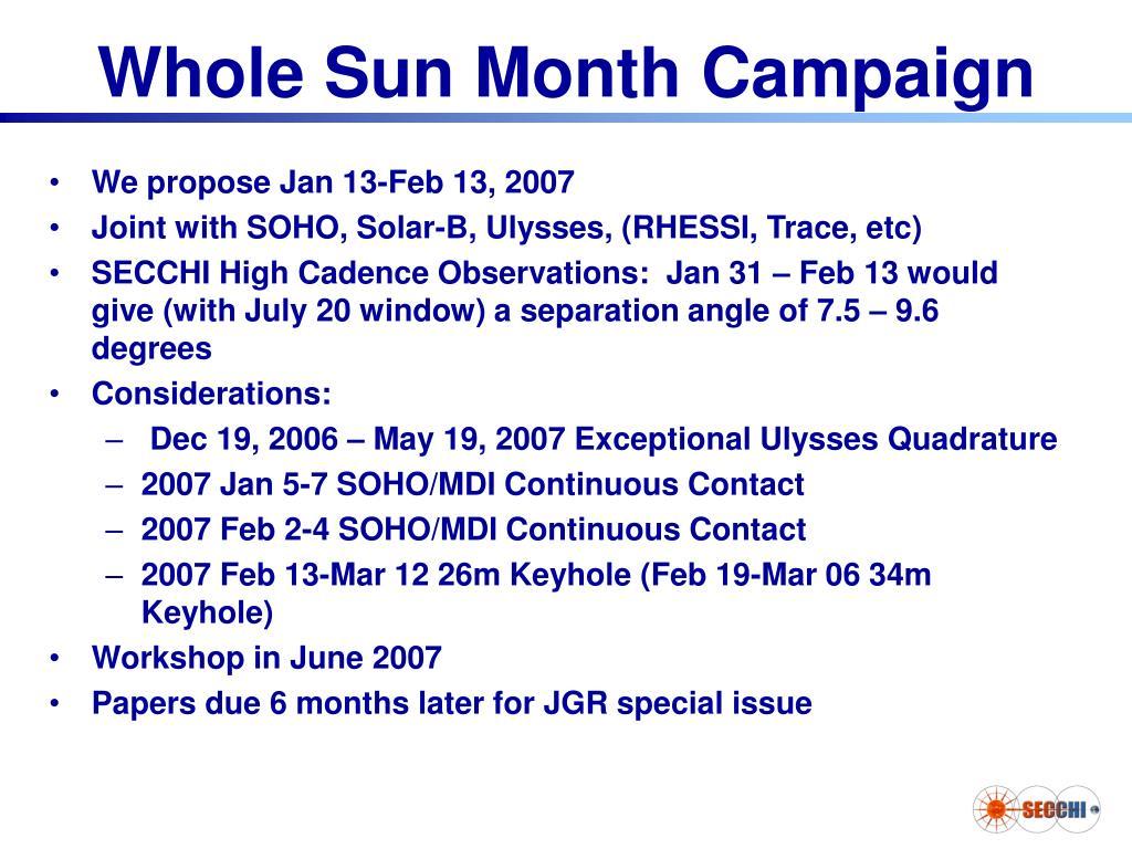 Whole Sun Month Campaign