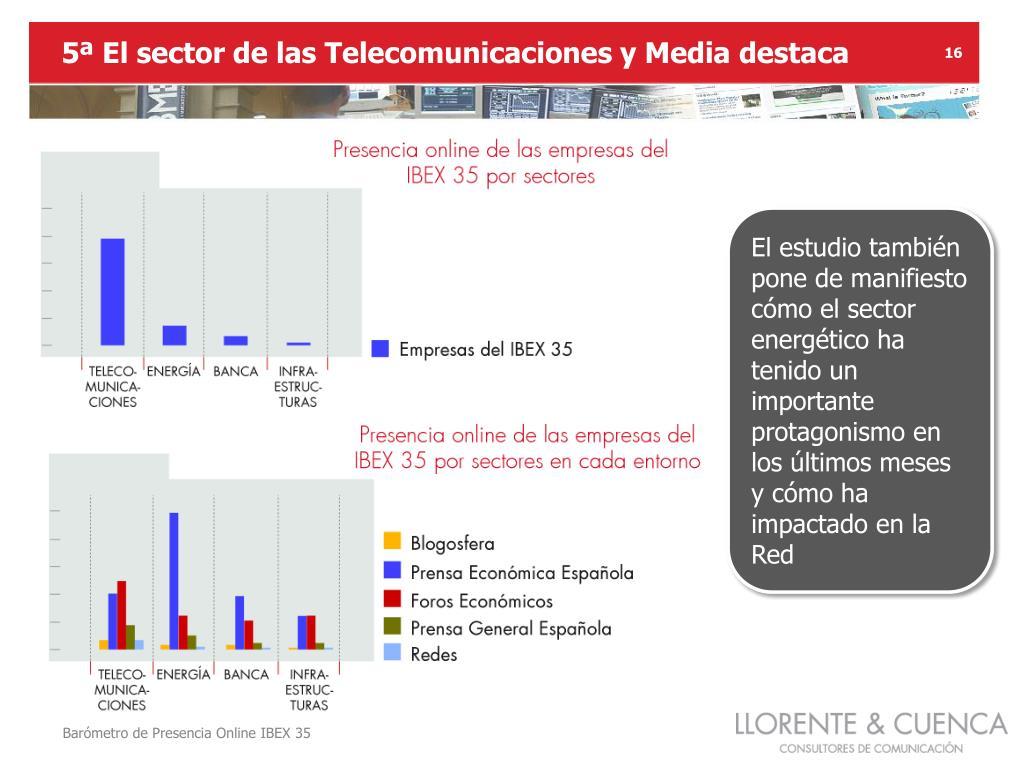 5ª El sector de las Telecomunicaciones y Media destaca