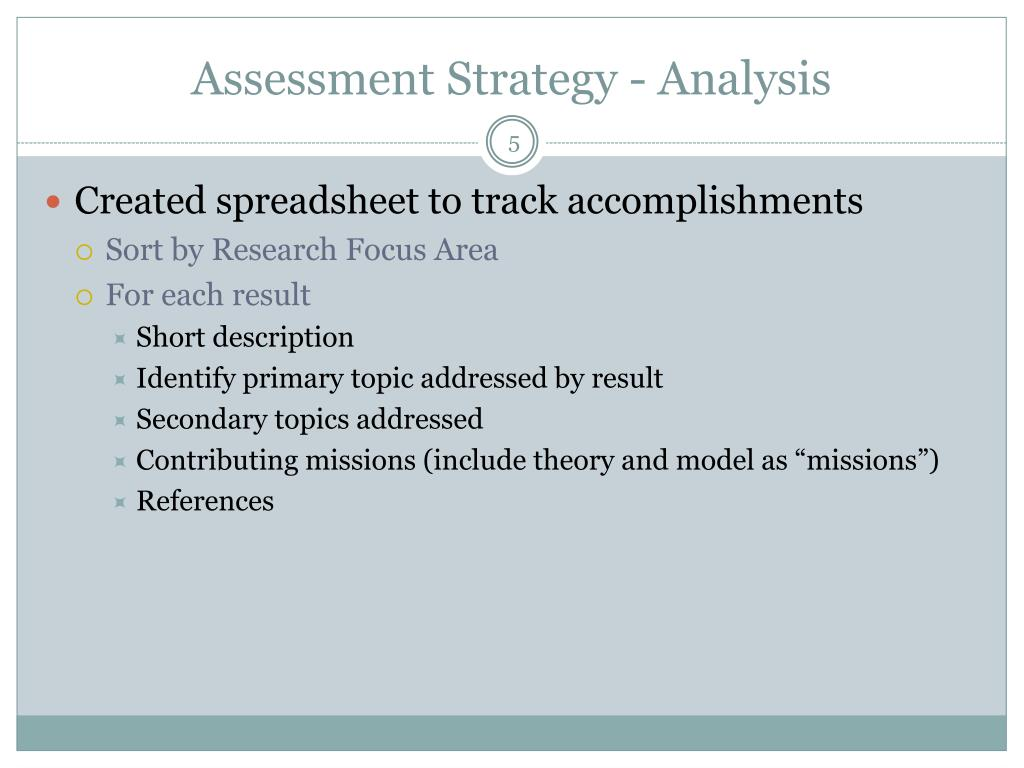 Assessment Strategy - Analysis