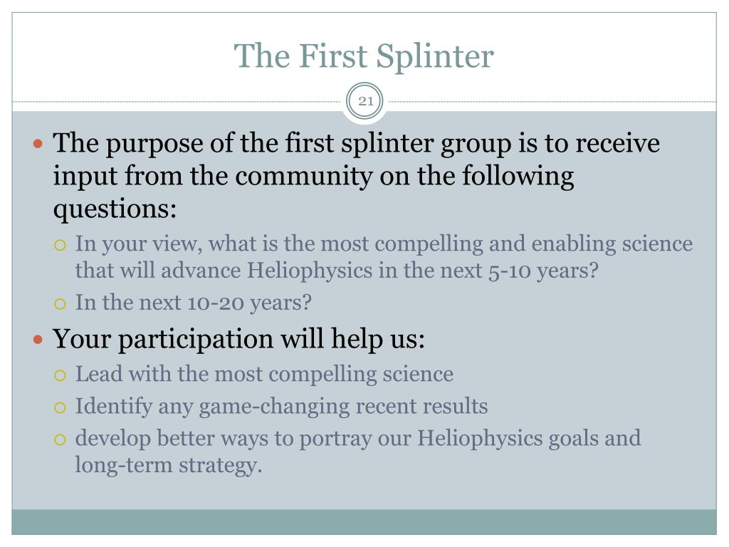 The First Splinter