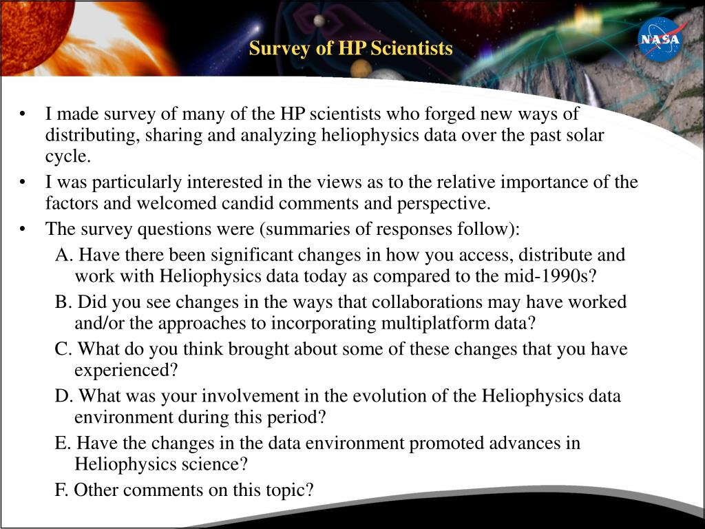Survey of HP Scientists