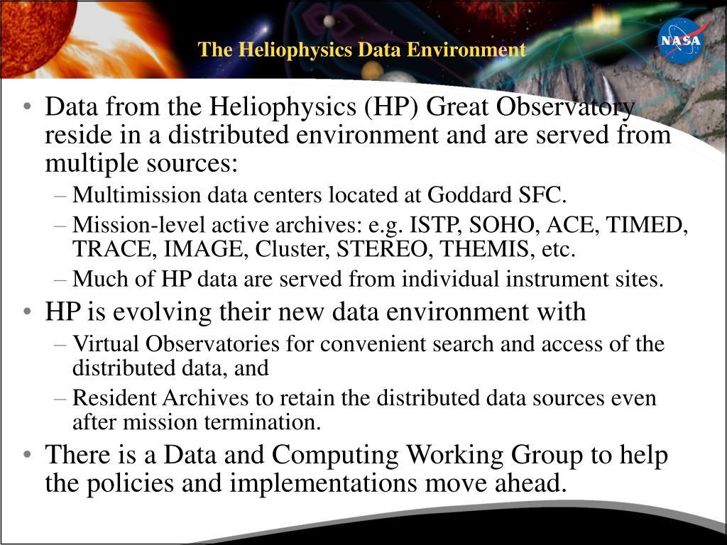 The Heliophysics Data Environment