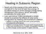 heating in subsonic region