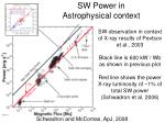 sw power in astrophysical context