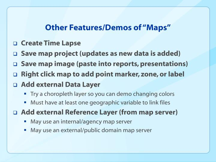 "Other Features/Demos of ""Maps"""