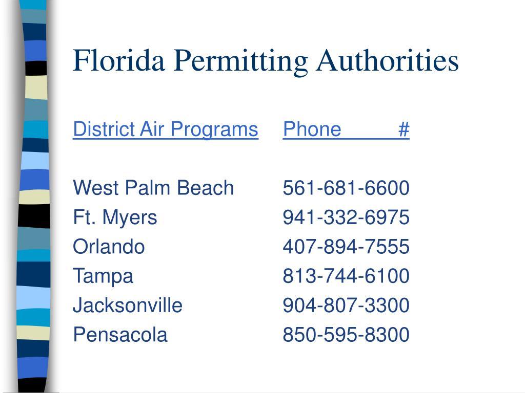 Florida Permitting Authorities