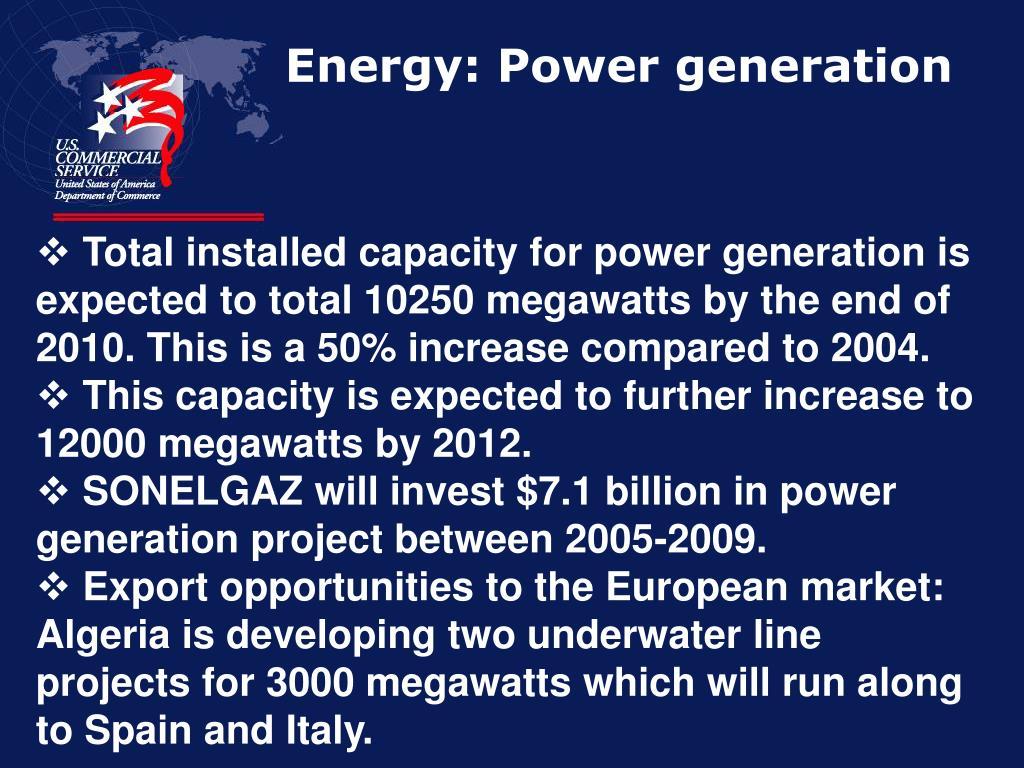 Energy: Power generation
