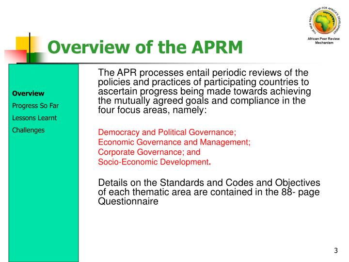 Overview of the aprm3
