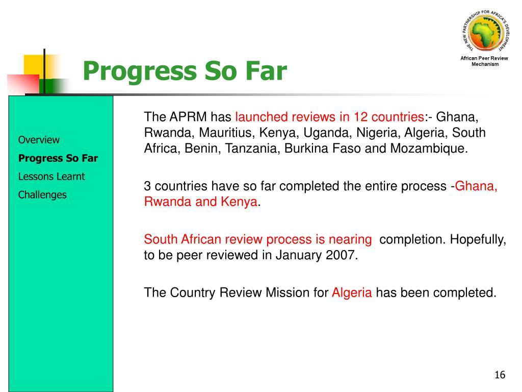 Progress So Far