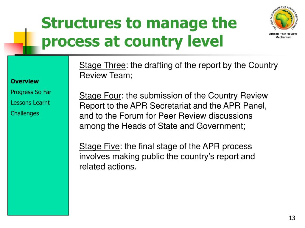 Structures to manage the process at country level